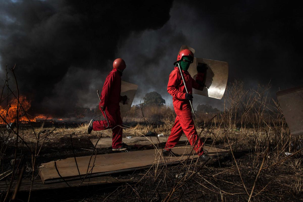 21 June 2017. The Red Ants evict residents and destroy an informal settlement near Pomona on the East Rand of Johannesburg.