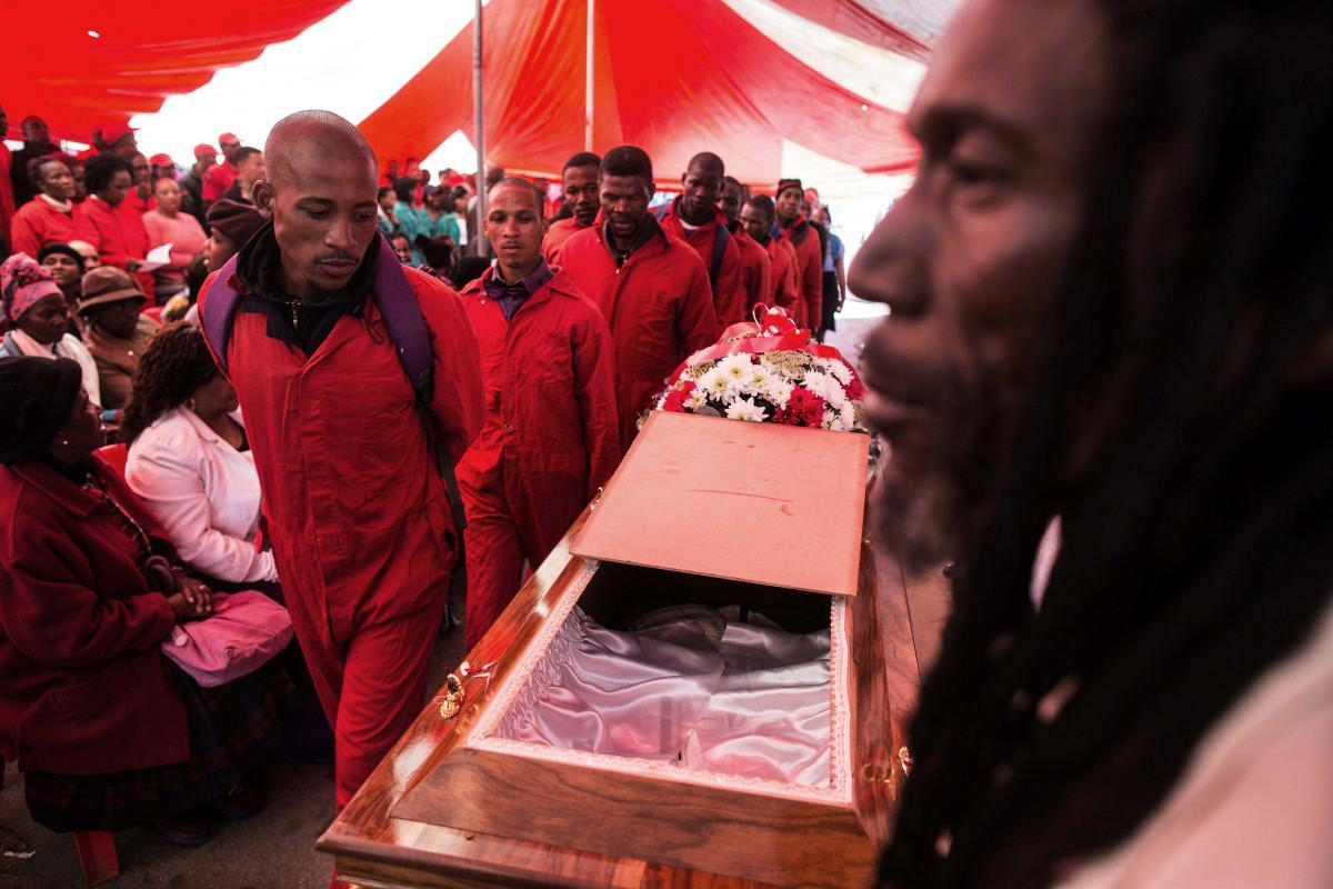 Funeral of  Kervin Arthur Woods , a member of the Red Ants. He was killed during an eviction near Lenasia, South of Johannesburg.